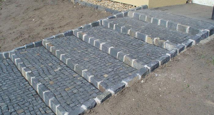 basaltpflaster verlegt als treppe